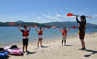 海に出る前に注意点や操作説明、準備体操を行います。