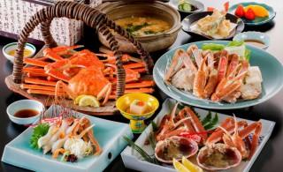 ホテル北野屋 昼食 活蟹付蟹づくしDX(蟹刺し・焼き蟹・茹で蟹・蟹すき鍋 全て2人前)