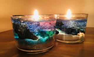 火を灯すと、ジェルに光が反射しとてもキレイ☆キャンドルの炎には癒しの効果もあります。