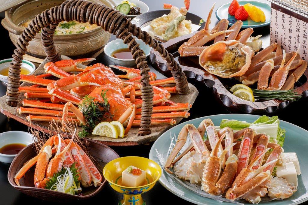 ホテル北野屋 昼食 蟹づくしST(蟹刺し・焼き蟹・茹で蟹・蟹すき鍋 全て2人前)